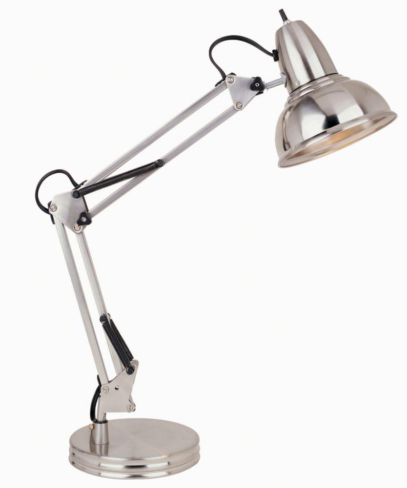 Lampe de bureau avec bras pivotant, fini chrome satiné