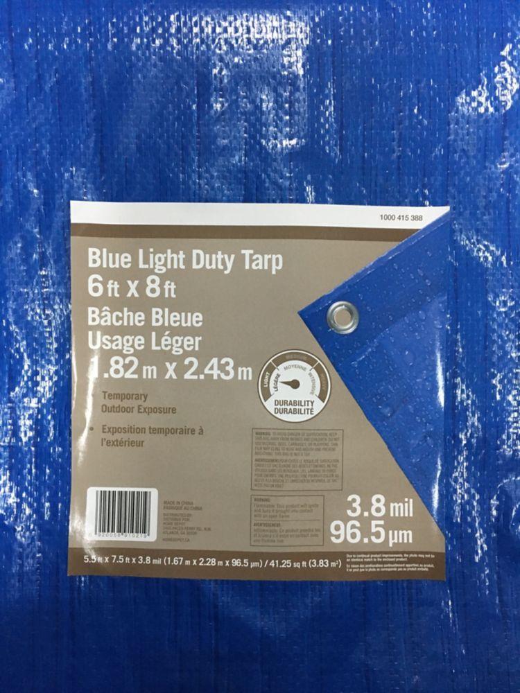 6 Feet x 8 Feet All Purpose Blue Tarp