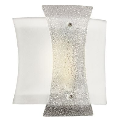 Wall Sconce With White/Clear Crackle Glass