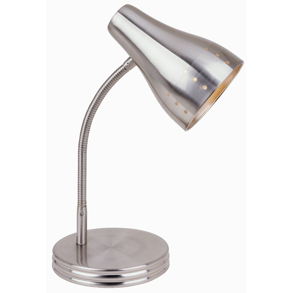 Satin Chrome 1-Light Touch Desk Lamp