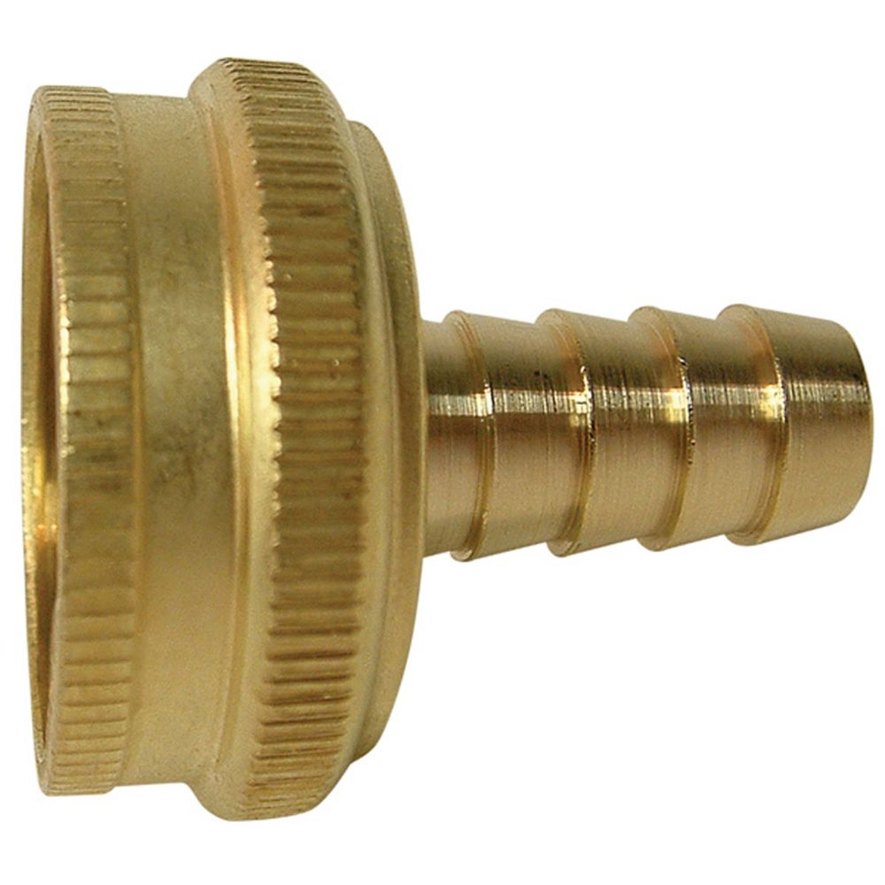 Brass Stamped Female Hose Nut to Machined Hose Barb Swivel (3/4 x 1/2)