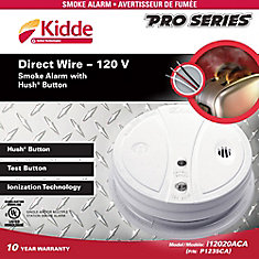 Hardwired Smoke Alarm with Hush Button Feature