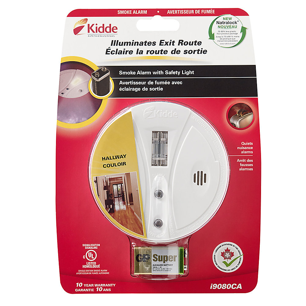 Kidde Battery Operated Safety Light Smoke Alarm With Hush