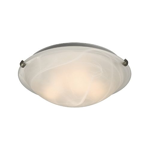 Hampton Bay 3-Light Pewter Clip Flushmount Ceiling Light with White Marbled Glass