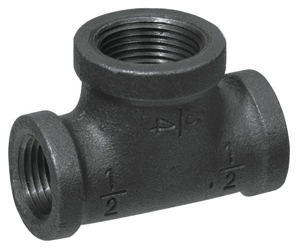 Aqua-Dynamic Fitting Black Iron Reducing Tee 3/4 Inch x 1/2 Inch x 1/2 Inch