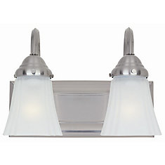 2-Light Brushed Nickel Vanity Light with Frosted Glass Shades