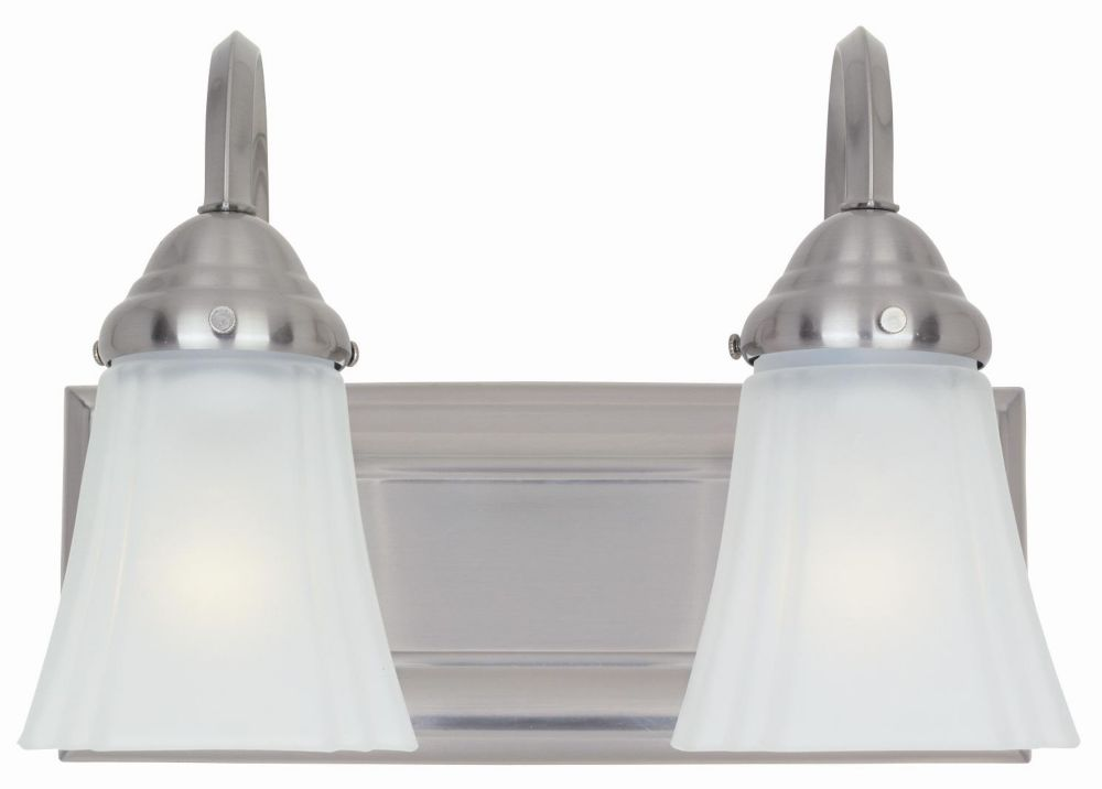 Hampton Bay 2-Light Brushed Nickel Vanity Light with Frosted Glass Shades