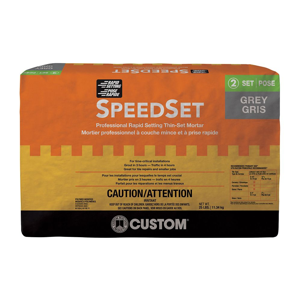Custom Building Products Sdset Fast Setting Thin Set Mortar Gray 25 Lb The Home Depot Canada