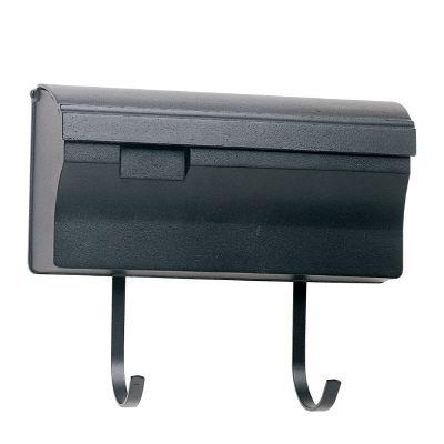 Snoc Wallmounted Mailbox With Hooks, Black