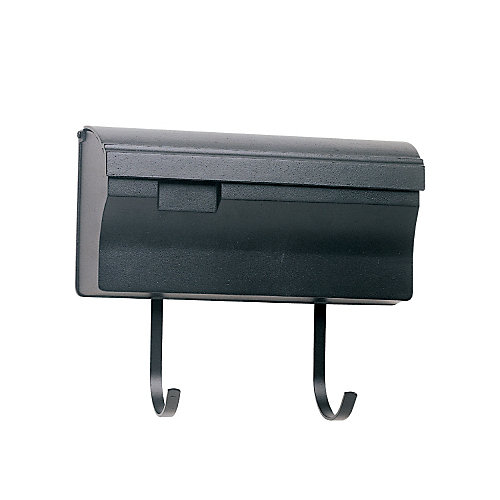 Wall Mounted Mailbox With Hooks, Black