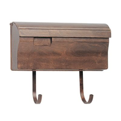 Snoc Wallmounted Mailbox With Hooks, Antique Copper
