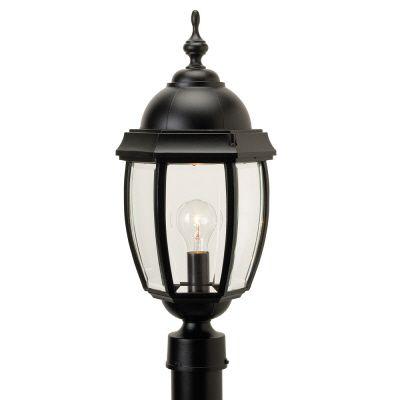 Vintage III, grand, luminaire sur poteau, panneaux de verre  biseauté clair, noir (poteau non-inc...