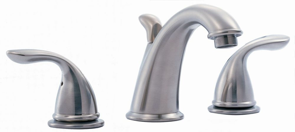 Hampton 8 Inch Widespread 2 Handle Low Arc Bathroom Faucet In Chrome With Porcelain Levers 7871