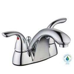 GLACIER BAY 3000 Series Centerset 4-inch 2-Handle Low-Arc Bathroom Faucet with Lever Handles in Chrome