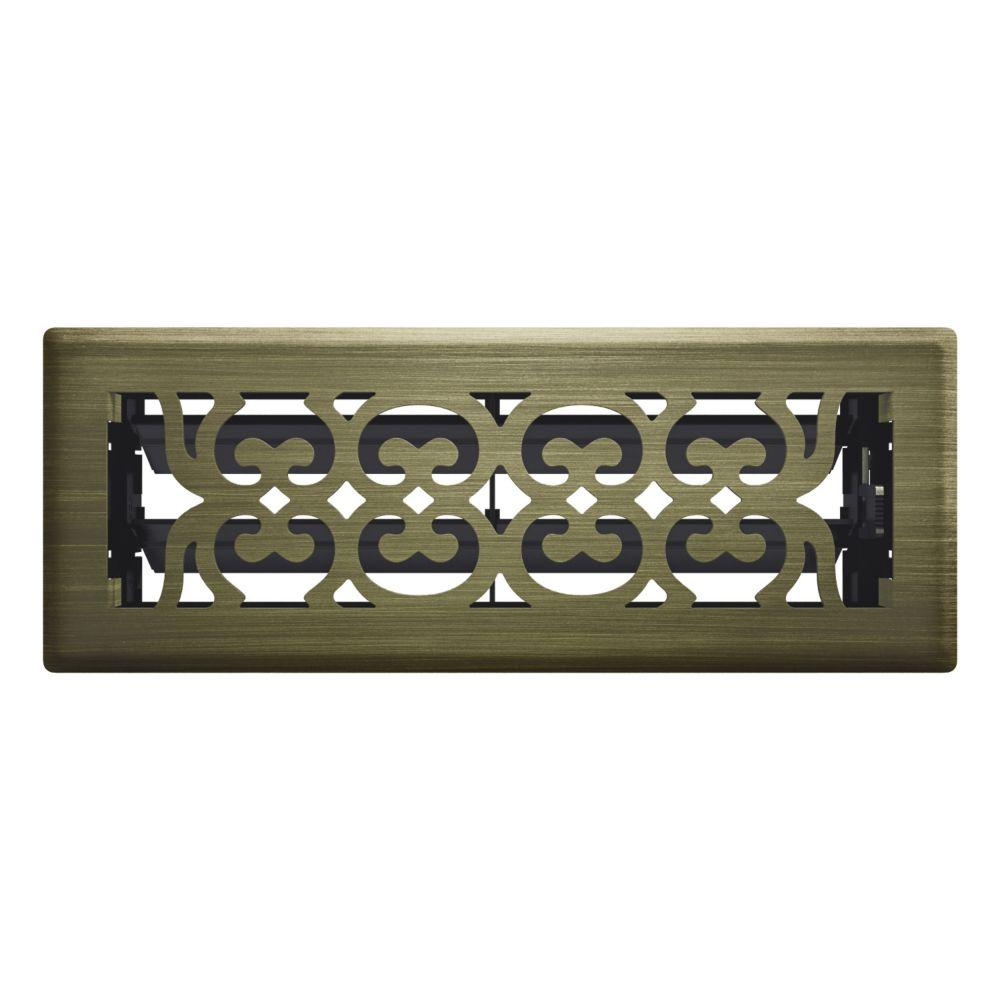 3 Inch x 10 inch Antique Brass Victorian Floor Register