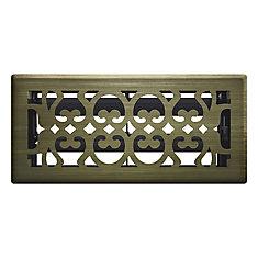 4 Inch x 10 inch Antique Brass Victorian Floor Register