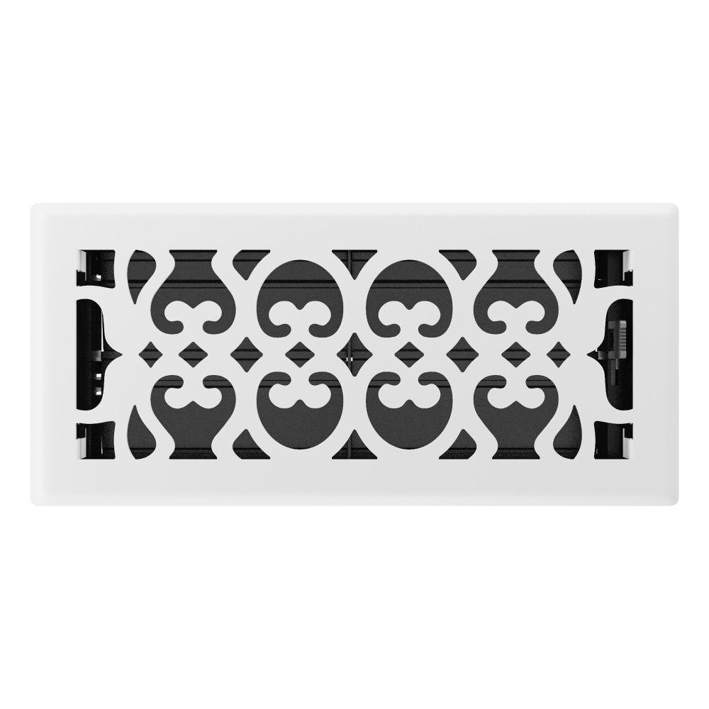 4 Inch x 10 inch White Victorian Floor Register
