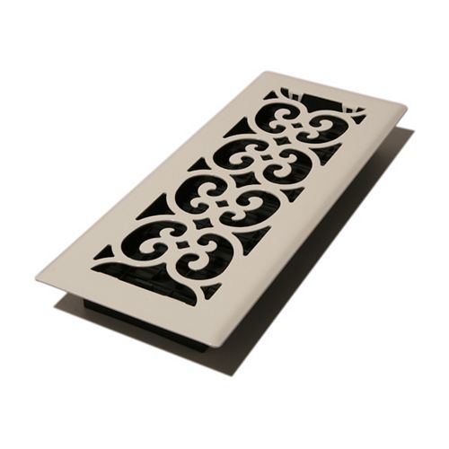 Decor Grates 4x12 Scroll Design Floor Register Painted White Finish