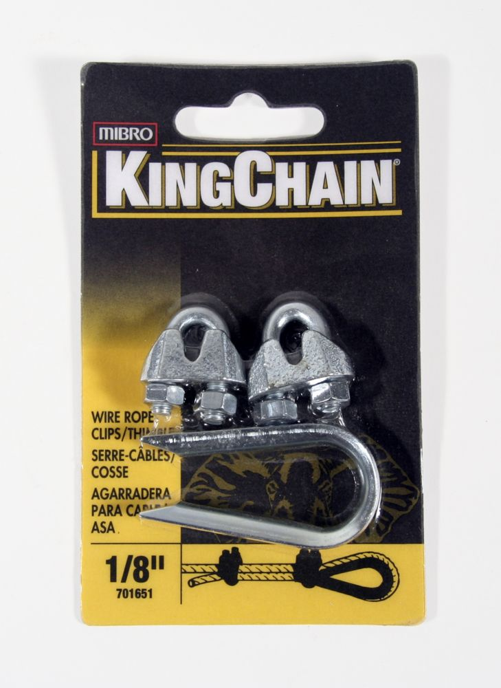 1/8 In. Wire Rope Clip (2) Thimble (1)