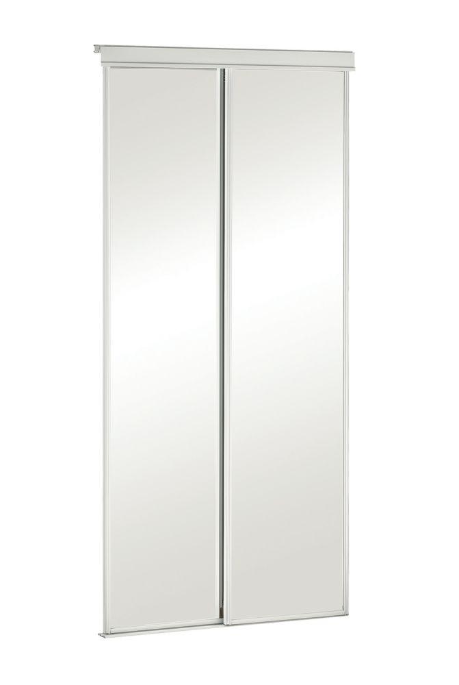 60-inch White Framed Mirrored Sliding Door