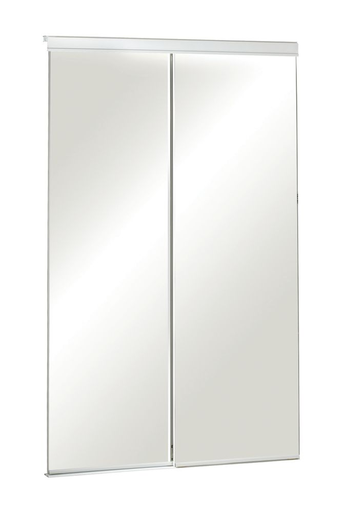 60 inch frameless mirrored sliding door the home depot canada