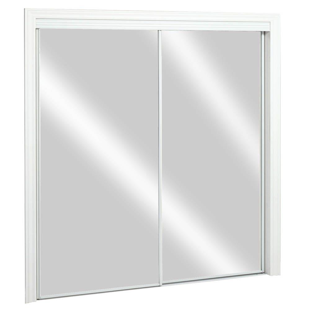 Kingstar 48-inch x 80-inch Steel White Framed Top Roll Sliding Mirror Door