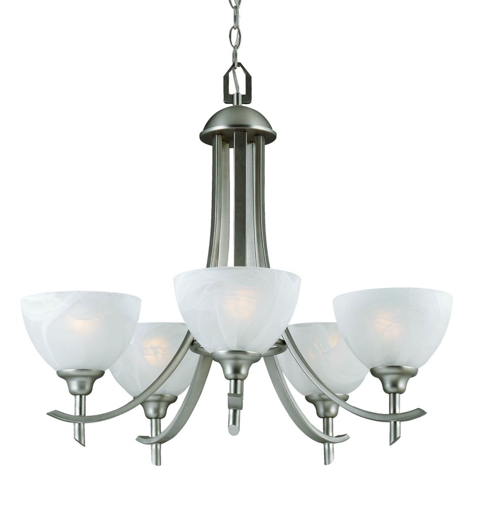 Hampton Bay 5-Light 60W Brushed Nickel Chandelier with Alabaster Glass Shades