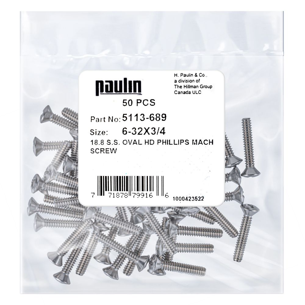 6 32X3/4 Ss Oval Phillips Mach Screw