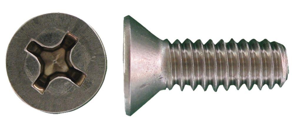 10-32x1-1/2 vis de mecanique phillips fraisee inox.