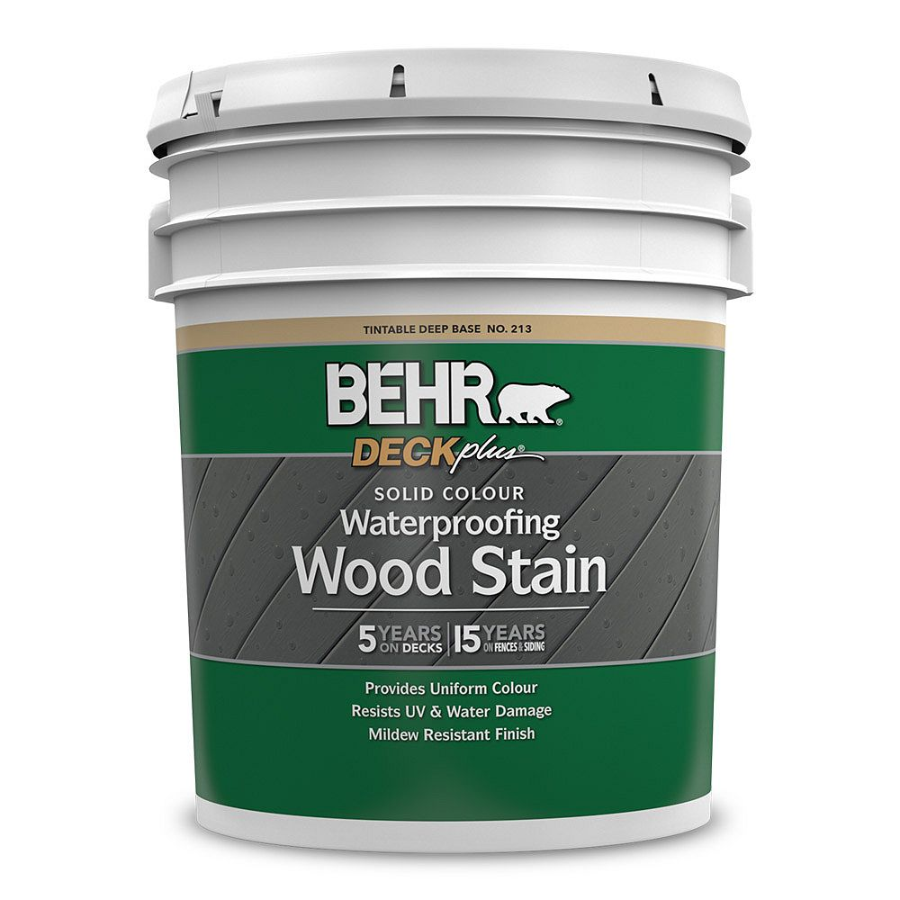 DECKPLUS Solid Colour Waterproofing Wood Stain - Deep Base No. 213, 18.9 L