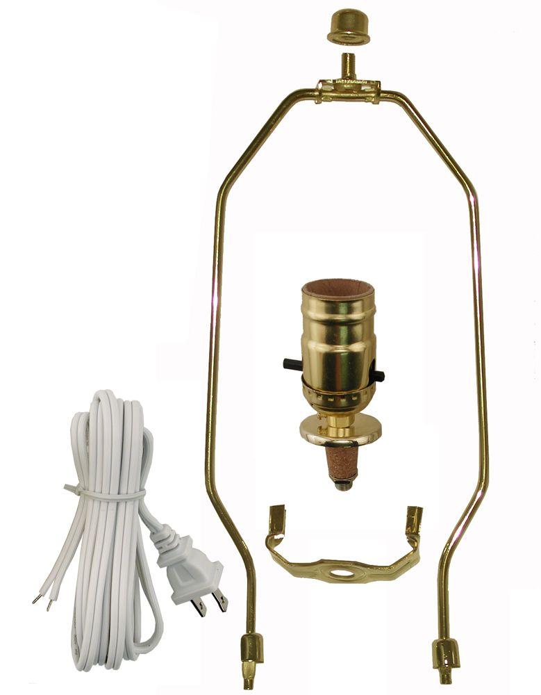 Ensemble pour lampe avec lyre de laiton