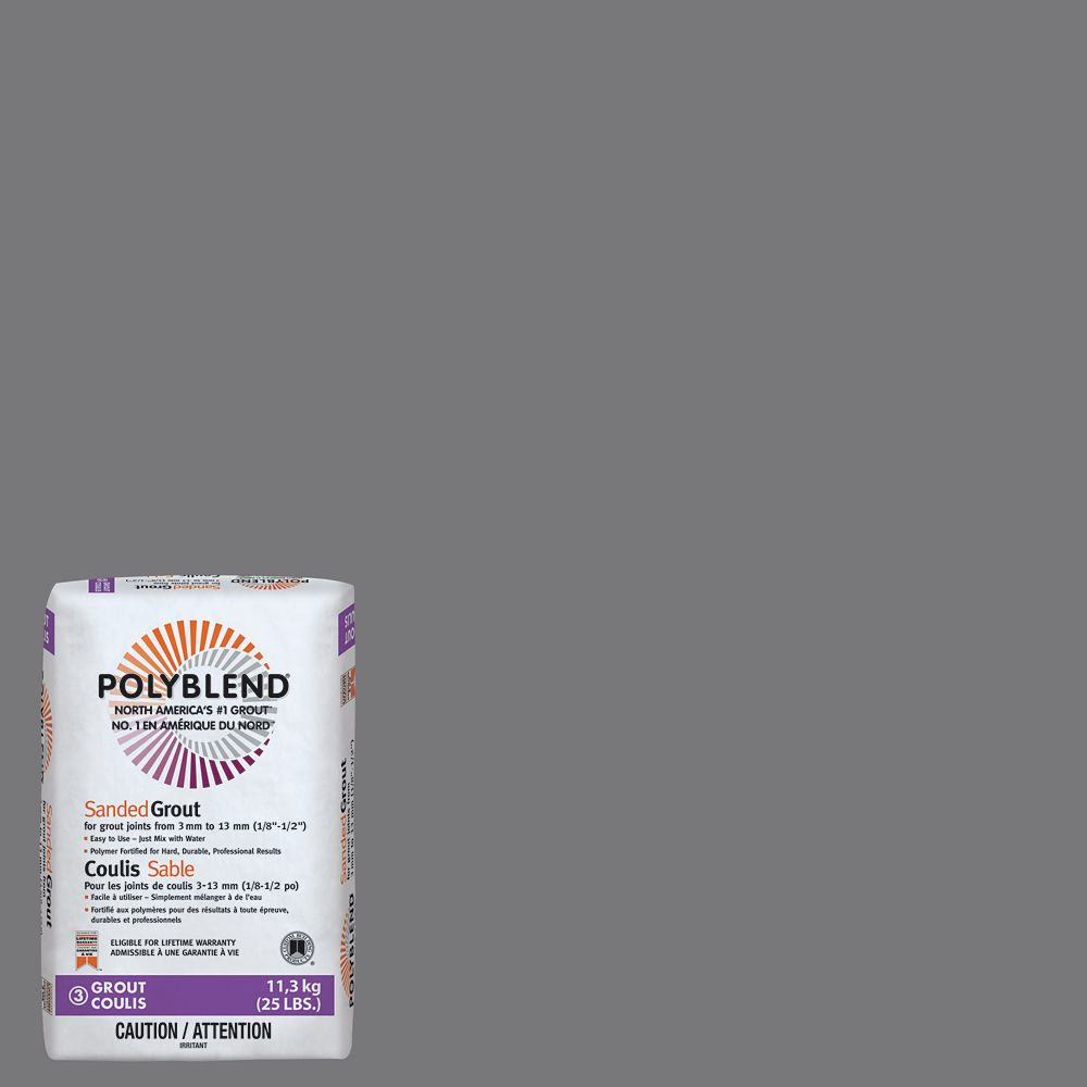 Custom Building Products #19 Pewter - Polyblend Sanded Grout - 25lb