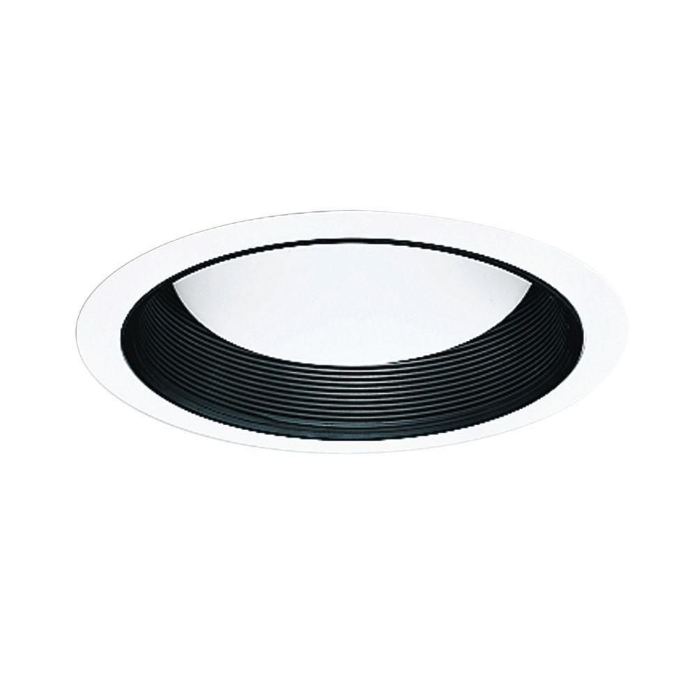 Black Metal Baffle Splay with White Trim Ring-5 Inch Aperture