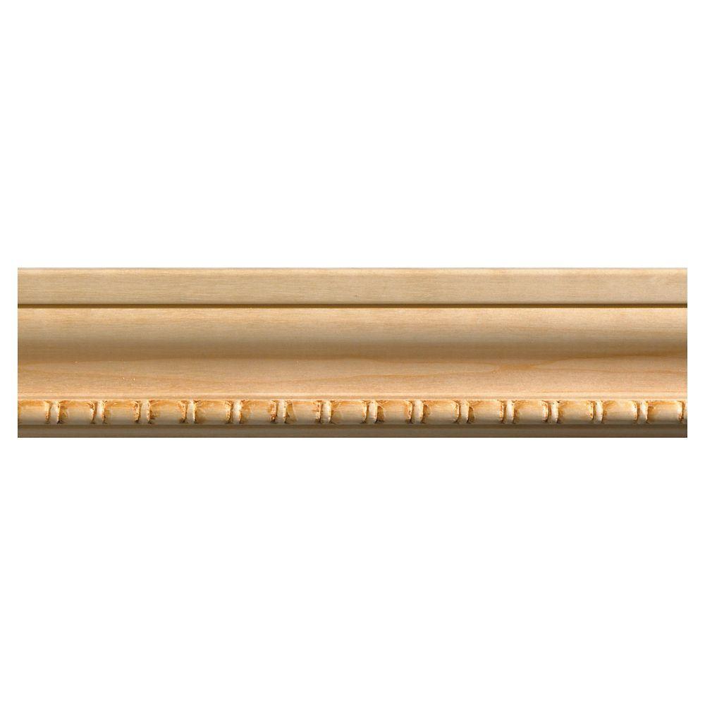 Cadrage à motif perles et ovales en bois dur blanc - 1/2 x 2 1/8 x 84 pouces