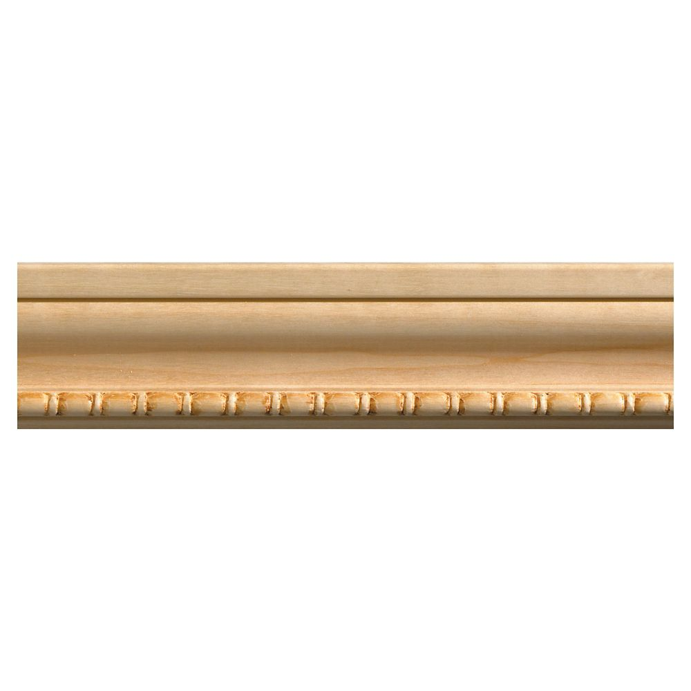 Ornamental Mouldings White Hardwood Bead & Reel Casing Moulding - 1/2 x 2-1/8 x 84 Inches