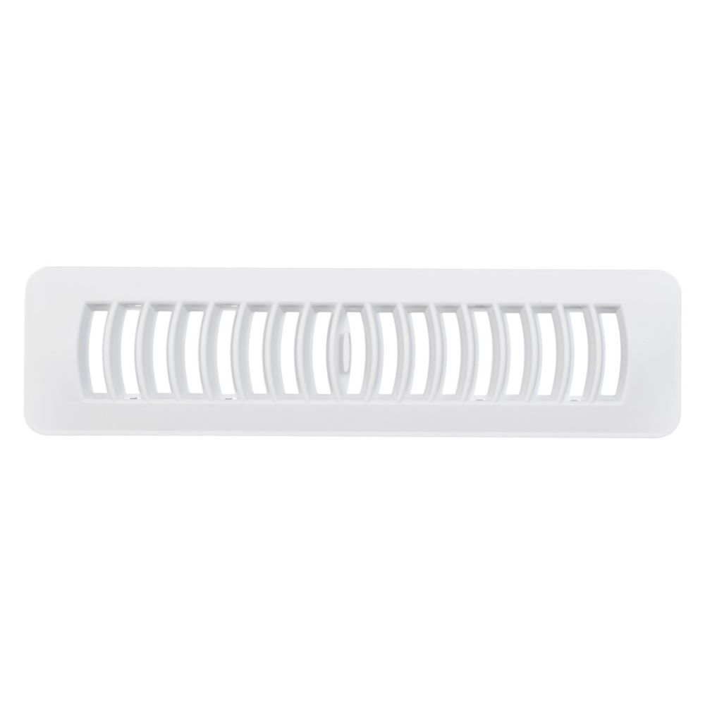 2,25 po x 12 po Registre de plancher en plastique, blanc