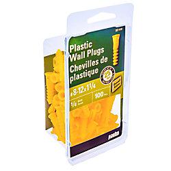 Paulin No. 8-12 x 1-1/4-inch Yellow Plastic Hollow Wall Anchor