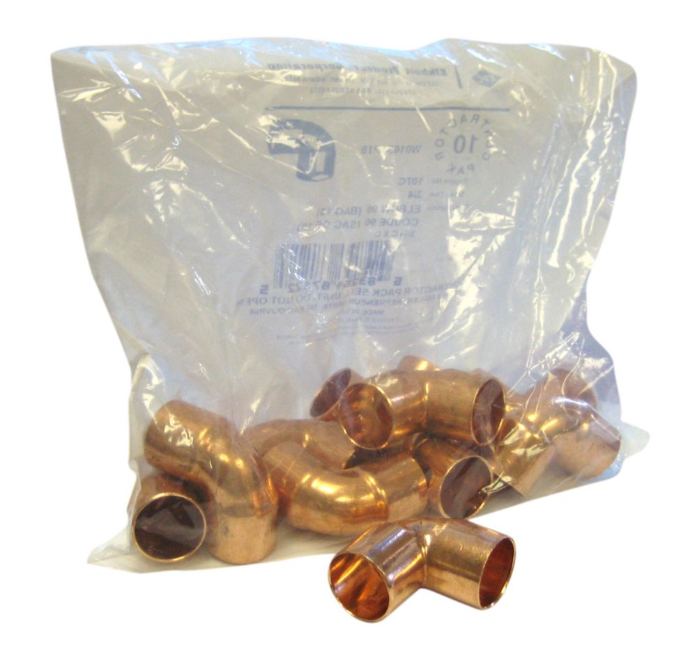 Fitting Copper 90 Degree Elbow 3/4 Inch Copper To Copper (Pack of 10)