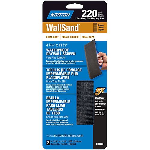 WallSand 4-3/16 inch x11-1/4 inch Drywall Screen Very Fine-220 grit (2-Pack)