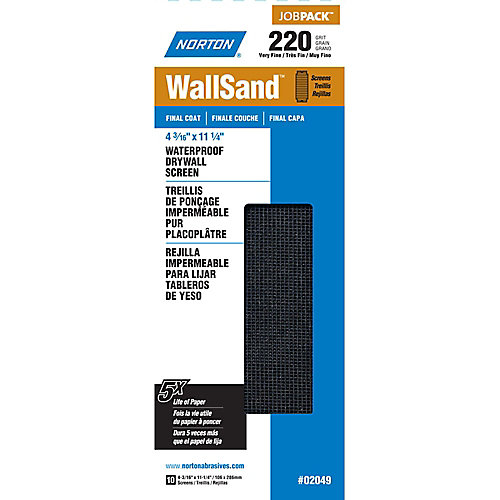 WallSand 4-3/16 inch x11-1/4 inch Drywall Screen Very Fine-220 grit (10-Pack)