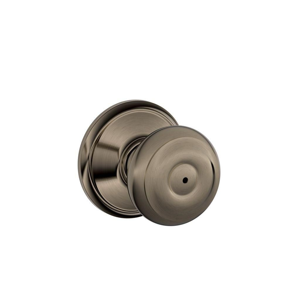 Georgian Antique Pewter Locking Bed and Bath Door Knob