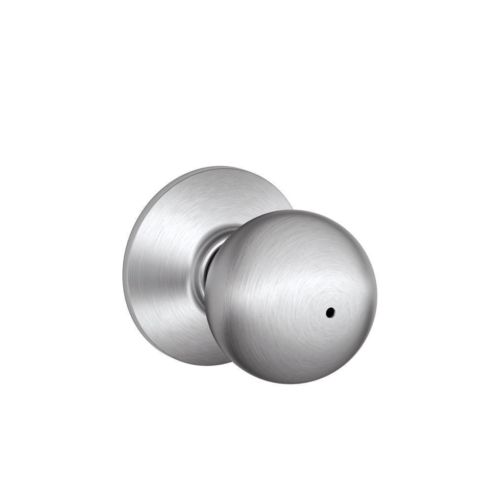 Orbit Satin Chrome Locking Bed and Bath Door Knob