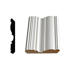 Primed Fibreboard Ogee/Crown 5/8 inch x 4-1/2 inch (Price per linear foot)