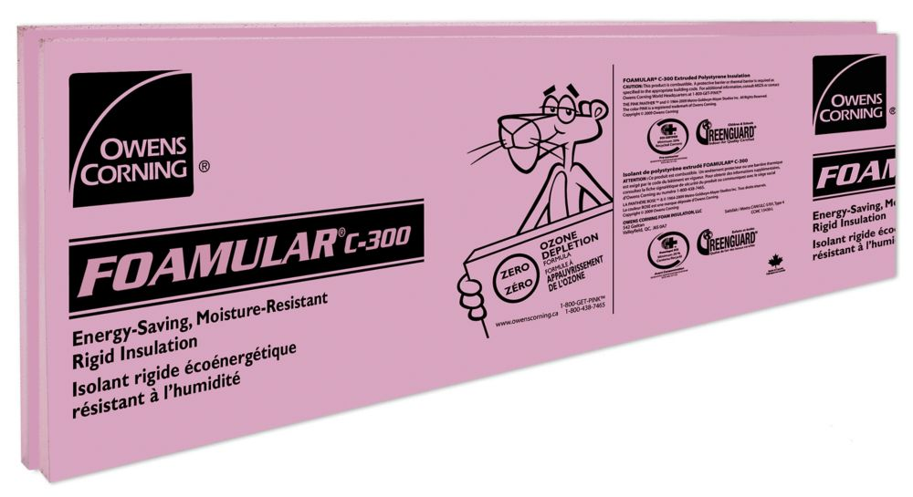 Isolant de polystyrène extrudé rigide FOAMULAR C-300 - 24 po x 96 po x 2.5 po RF