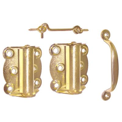 Ideal Security Brass Plated Screen Door Hardware Set