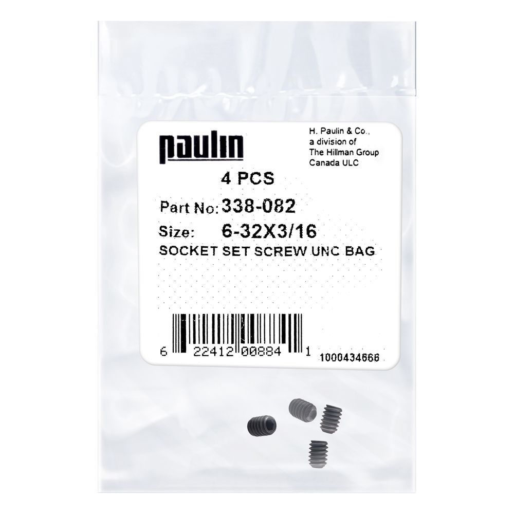6/32X3/16 Sock Set Screw Unc Bag 4Pc