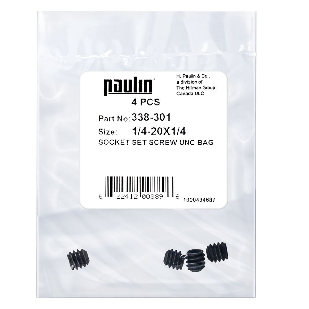 1/4X1/4 Socket Set Screw Unc Bag 4Pc