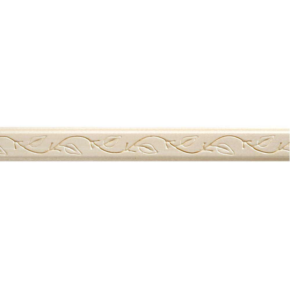 Moulure décorative en bois blanc dur, gaufrée en feuilles de lierre 3/8 po X 7/8 po - prix par pi...