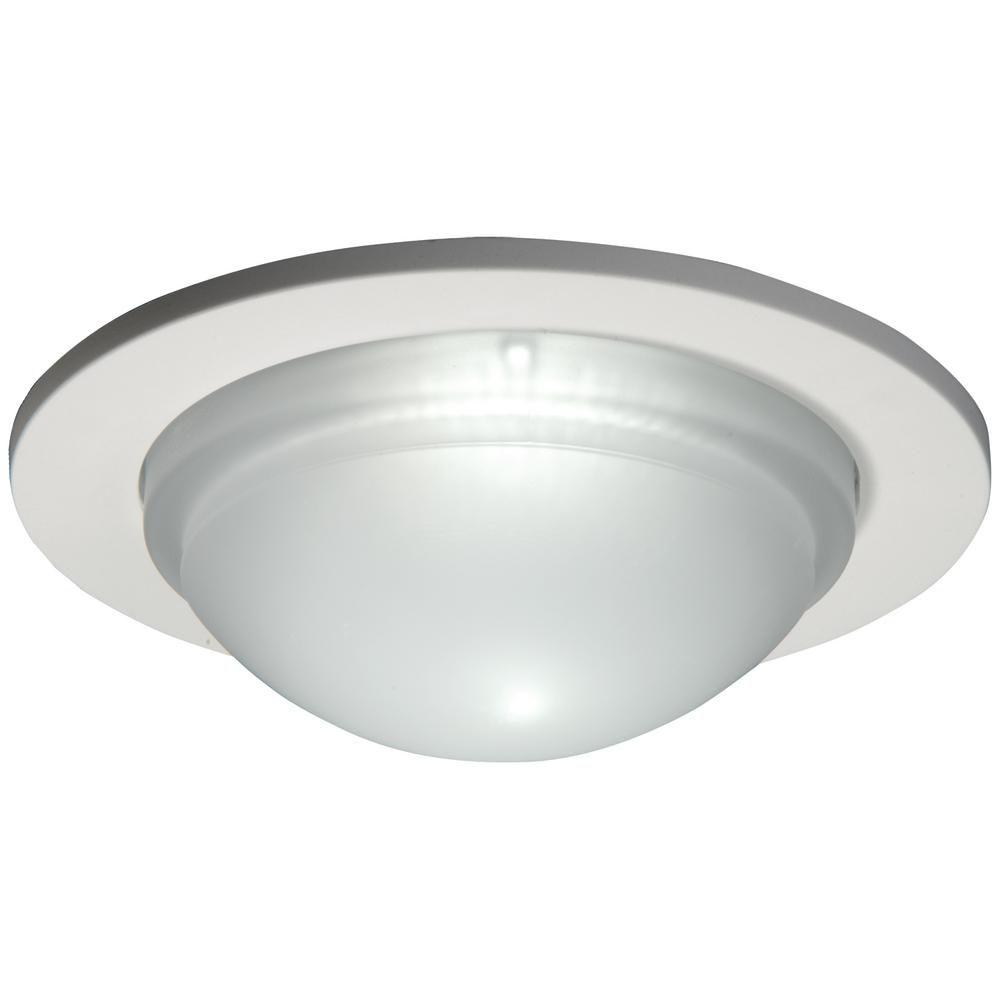 Luminaire de douche 5054PS à verrine avec garniture blanc satiné, ouverture de 13 cm