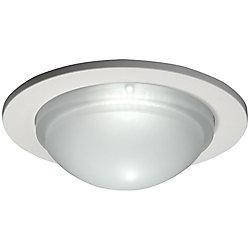 Halo Luminaire de douche 5054PS à verrine avec garniture blanc satiné, ouverture de 13 cm